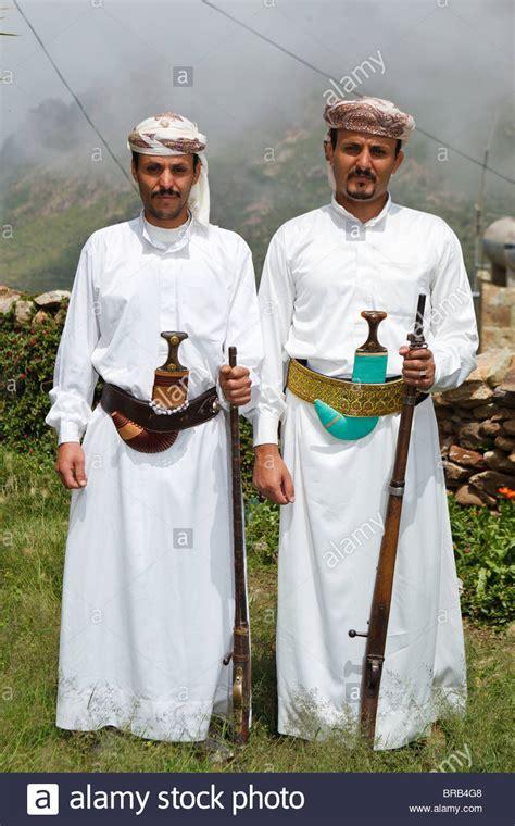 Yemeni Wedding Attire by Two Wearing Traditional Yemeni Dress In Al Hajjarah