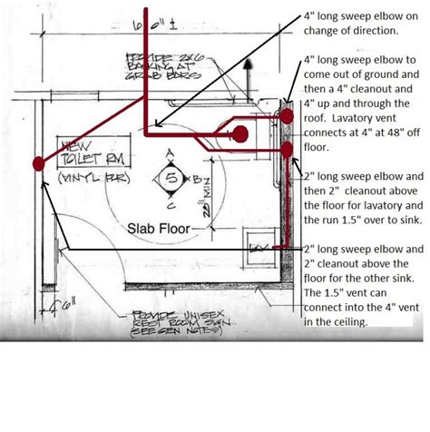 floor plan with plumbing layout dwv layout in two fixture bathroom slab floor