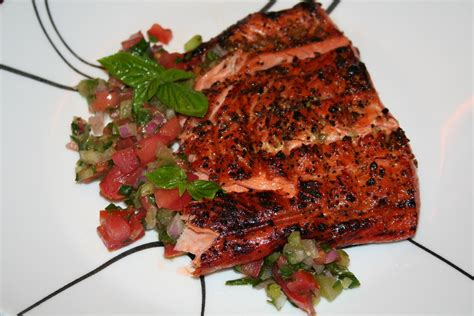 grilled salmon with salsa pepper onions peppers fish