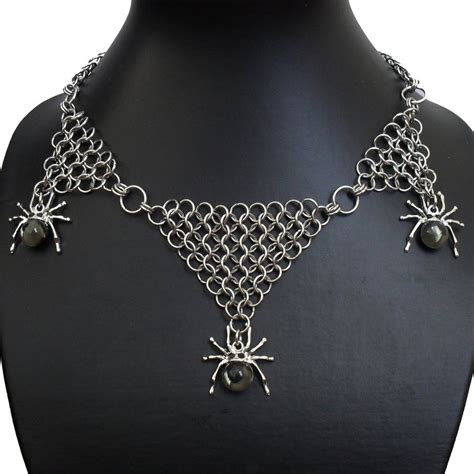 how to make chain jewelry with spiders chain mail choker necklace by