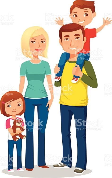 clipart famiglia illustration of a happy family with two