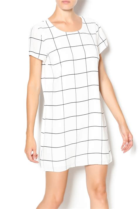 31176 Color White Grid Stripe S M L Blouse sugar grid streak dress from philadelphia by aoki