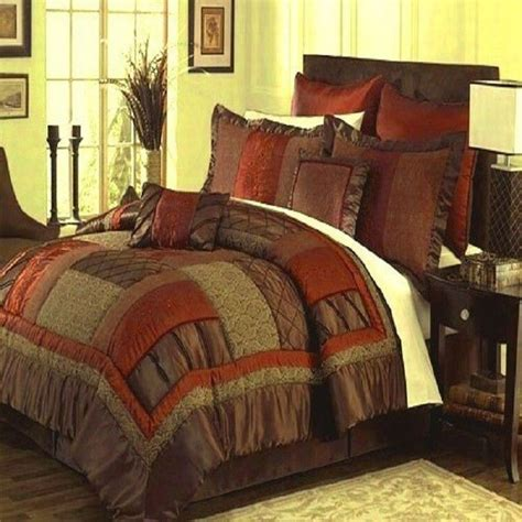 red and brown comforter set queen king cal king brown red orange green bedding