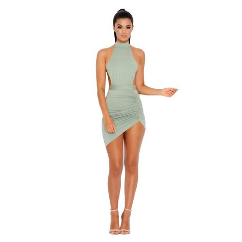 Mini Dress ruched and ready asymmetric halter neck mini dress
