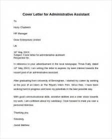 Cover Letter Exles For Admin Assistant by Administrative Assistant Cover Letter 9 Free Sles Exles Formats