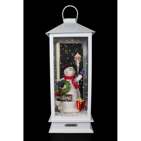 snowing lantern buy snowing snowman lantern with led lights 19inch