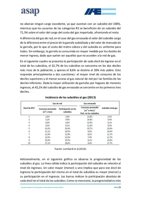 subsidio gas fechas informe sobre subsidios a la electricidad y el gas en