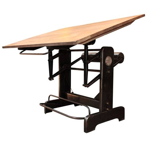 Architect Drafting Table Industrial Adjustable Architect S Drafting Table 1950s At 1stdibs