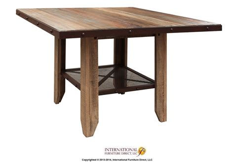 Dining Table Shelf Counter Height Dining Table Solid Wood W Iron Mesh Shelf By International Furniture Direct