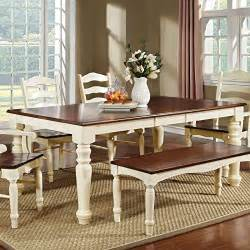 White Dining Table And Bench Set Palisade Country Style Cherry White Finish Dining Table Bench Set 247shopathome Http Www
