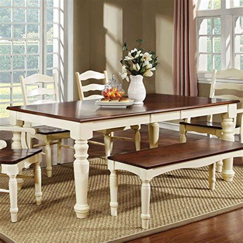 Palisade Country Style Cherry White Finish Dining Table Country Style Dining Table With Bench