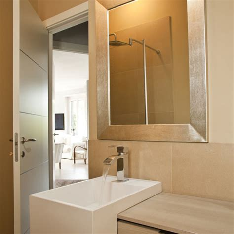 Silver Bathroom Mirrors Custom Golden Silver Framed Bathroom Mirror Contemporary Bathroom Mirrors By
