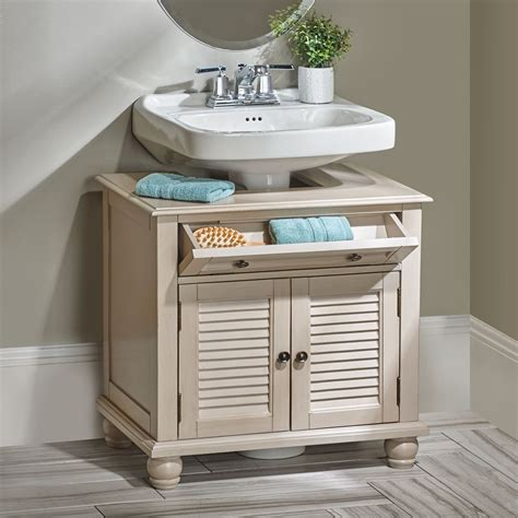 Cabinets For Pedestal Bathroom Sinks by Utilize That Space Around Your Pedestal Sink With This