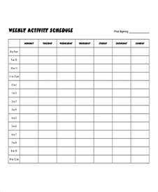 schedule of activities template weekly activity schedule templates 5 free word pdf