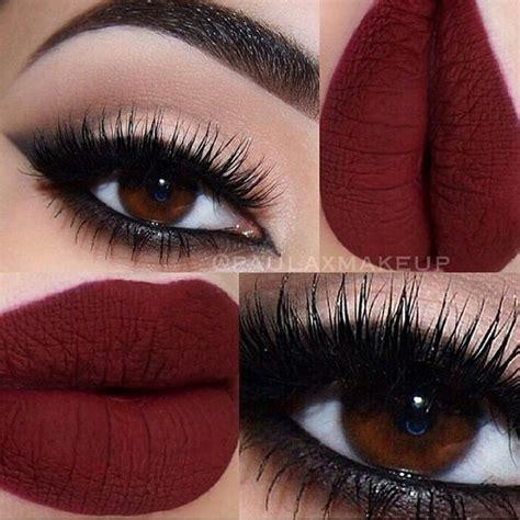 matte maroon lipstick black smokey arabic cat eye winged eyeliner matte red