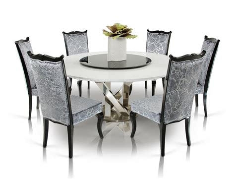 lazy susan dining room table dreamfurniture modern white dining table with