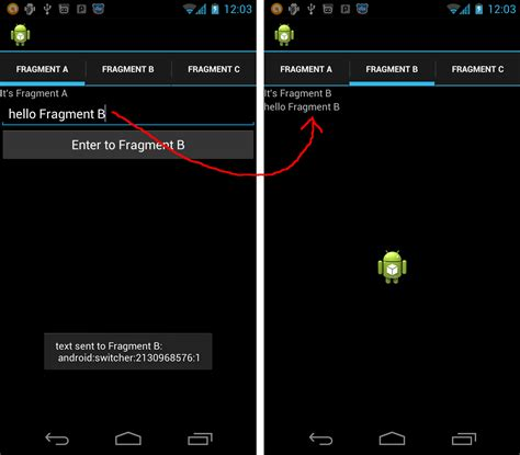 android fragment android er communication between fragments in viewpager