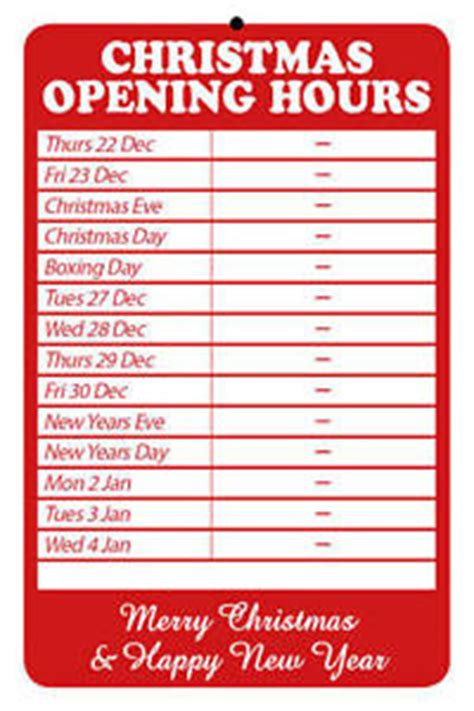christmas opening hours times shop sign a4 size merry
