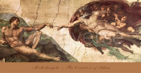 the creation of adam print by michelangelo