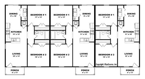 triplex floor plans triplex plan j0605 14t plansource inc