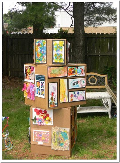 display art use cardboard boxes to display your kids artwork green