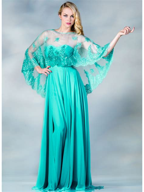 Mint Evening Dress with Poncho   Sung Boutique L.A.