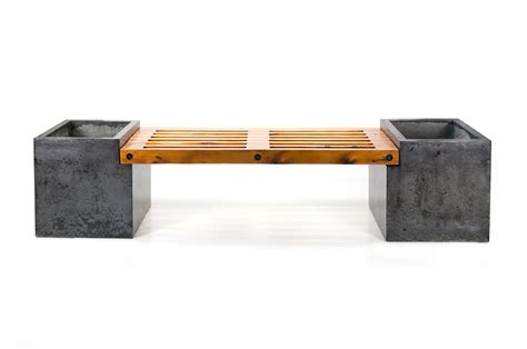 cement bench bench with concrete planters solid716