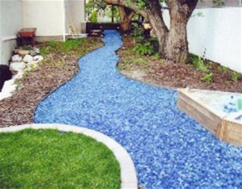 Landscape Fabric Concrete Glass Chippings To Make A River Like Path Through The