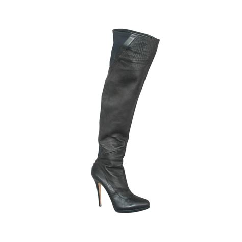 casadei black leather and neoprene thigh high boots 11