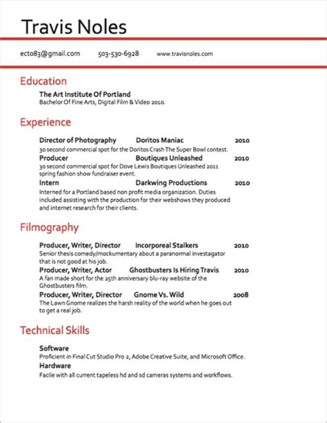 Videographer Resume by Travis Noles Videography And Production