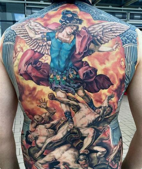 colorful archangel michael tattoo on man full back