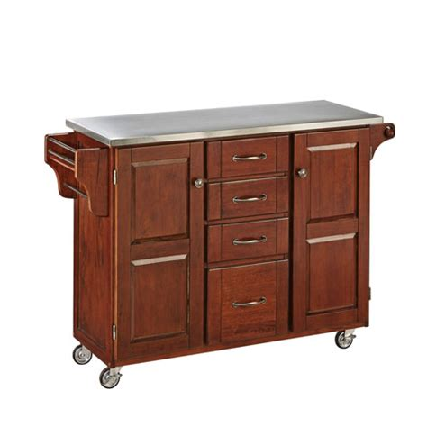 create a cart cherry finish stainless top home styles
