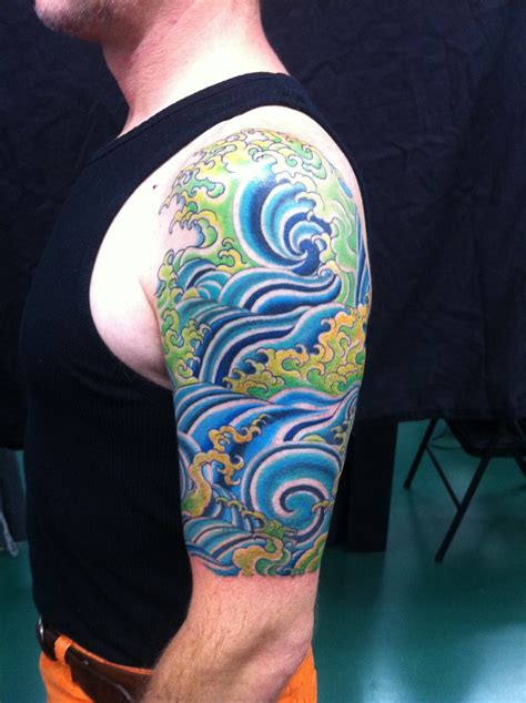 water sleeve tattoo tattooing by yoni zilber yoni zilber tattooist at