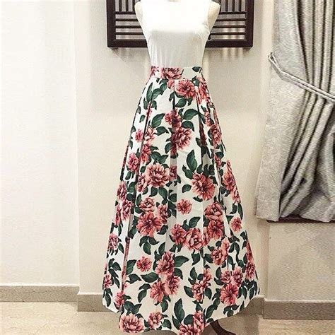 18465 White Flower Denim Skirt skirt floral redskirtz