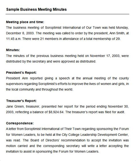 business meeting notes template meeting minutes template 25 free sles exles