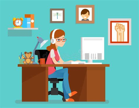 freelance design working from home freelance working at home with computer vector illustration in flat style stock vector