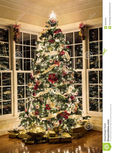 Beautifully Decorated Homes For Christmas beautiful xmas tree at night stock photo image 36263298