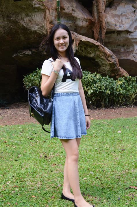 jying hi style denim skater skirt acewin backpack