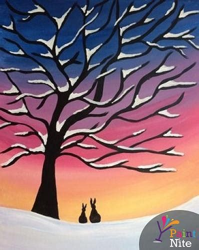 paint nite the tree paint nite winter snow tree