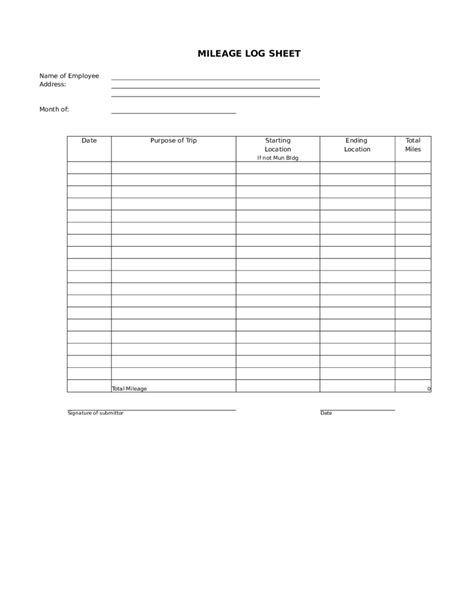 mileage log form bio letter sample
