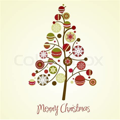 beautiful christmas tree illustration christmas card