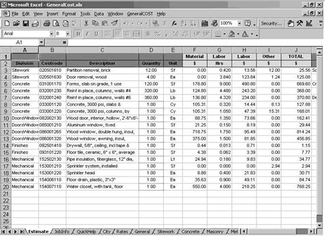 building materials cost estimate sheet engineering feed general cost estimating sheet