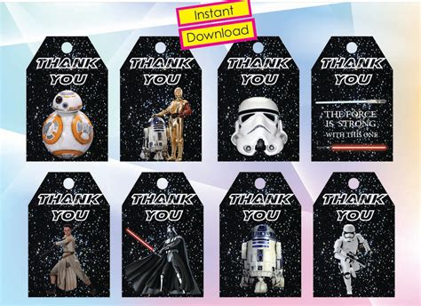 wars tags instant dl wars thank you tags the awakens wars gift tags printable