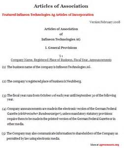 articles of association agreement sample articles of
