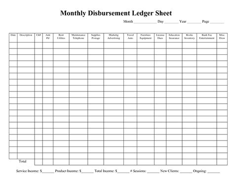 subsidiary ledger template best photos of expense ledger template monthly expense