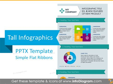 Infographics Template Ppt Flat Ribbons Tall Powerpoint New Design For Powerpoint
