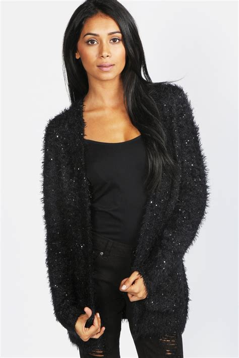 black fluffy black fluffy cardigan jumpers cardigans mince his words