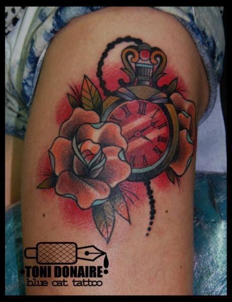 tattoo old school clock clock old school flower thigh tattoo by tattoo blue cat