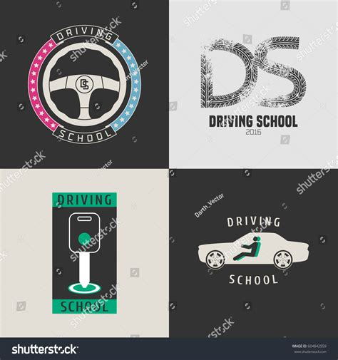 graphic design key elements set automobile driving school vector icons stock vector
