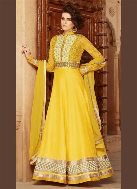 Regal Yellow by Regal Yellow Silk Georgette Embroidered Anarkali Suit